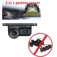 2 in1  car electronics buzzer parking sensors black sensors reversing radar car rear view camera reversing camera waterproof