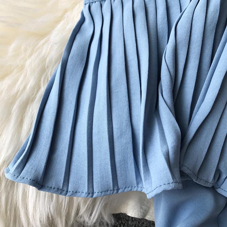 2019 Spring Women Chiffon Pleated Braces Sling Spaghetti Strap Goffer Long Dress Ladies Ruffles Empire Drapped Swing Slip Dress 187