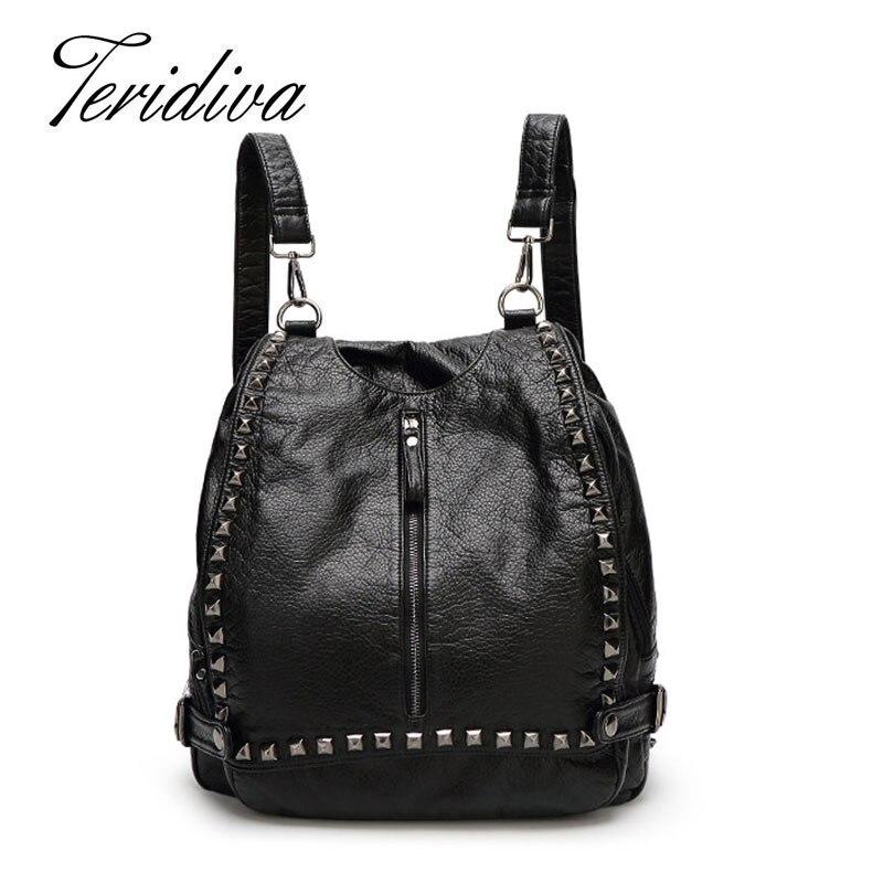 Teridiva Multi-function Handbag Women Messenger Bags Ladies Rivet Shoulder Bags Designer Vintage Rucksack Women High Quality<br>