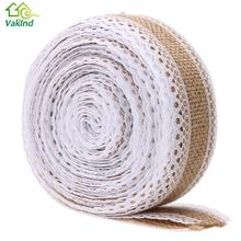 5m/Roll Linen Handmade Christmas Crafts Jute Burlap Band with Lace Trim For Christmas Wedding Party Decoration