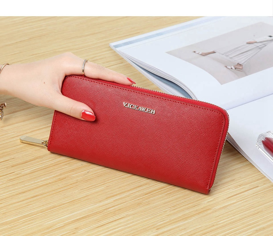 VICKAWEB Big Female Wallet Solid Women Wallets Genuine Leather Zipper Long Purses New Standard Wallets Fashion Ladies Purse 06-VICKAWEB06--010