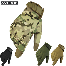 New Touch Screen Camouflage Tactical Gloves Military Armed waterproof Paintball Shooting Airsoft Anti-Skid Full Finger Gloves(China)