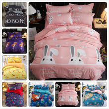 Student Kids Boy Girl 3D Rabbit Queen Twin Double Single Size 1.5m 1.8m 4pcs Sets Bedding Outlet Bed Sheet Duvet Cover Bedlinens(China)