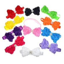 60pcs Pet Cat Bow Ties Rose Pearl Dot Puppy Bowties NecktiesPet Wedding Accessories Gromming Products Pet shop Dog  Accessories