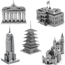 3D Metal Puzzle Empire State Building The White House Neuschwanstein Castle Blankenburg Door Japan's five-story pagoda