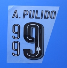 New Guadalajara Chivas A.PULIDO football number name font print, Hot stamping Soccer patches badges