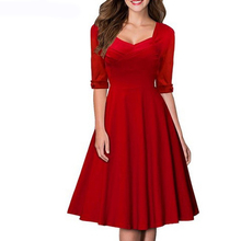 Bodecin Women Elegant Slim Waist Half Sleeve Polyester Dress Nice Office Dress Square   Neck Beautiful Working Dress