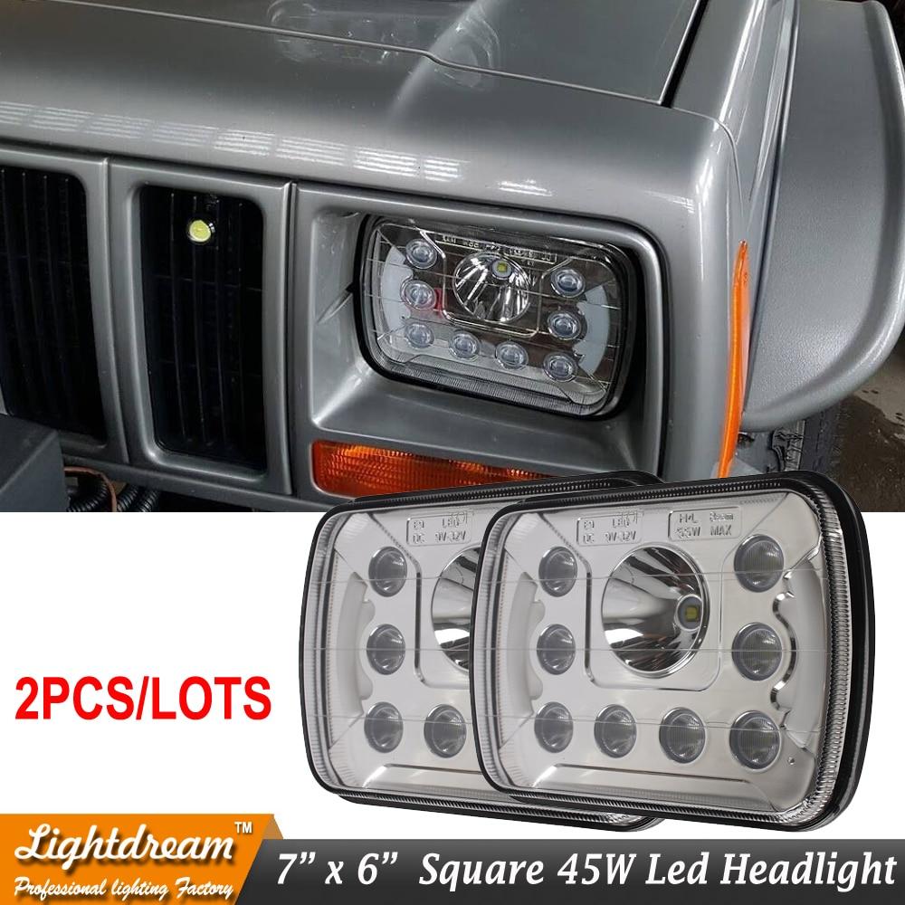 Universal Fit 7x6 45W 55W 6x7 H4 plug High Low Beam 12V 24V LED Headlight For H6054 H6052 F350 Cherokee C1500 K1500 K2500 X2pcs<br>