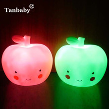 Tanbaby Silicon Apple nightlight Cute decoration Bedside Lamp Energy-saving Red or Green for Children Gift portable lights(China)