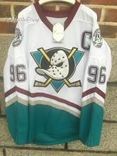 yingyuanfang Men's high quality Mighty Ducks Movie Jersey #96 Charlie Conway Hockey Jersey S, M, L, XL,XXL, 3XL white color(China)