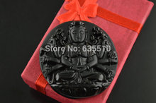 1 Pc Natural Black Obsidian Stone Carved Thousand Hands Guanyin Lady Buddha Pendant Fashion Jewelry(China)
