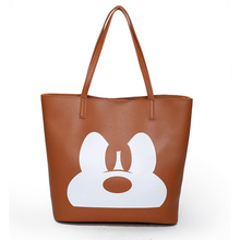 Large Capacity Casual Tote Black Leather Mickey Printing Handbags Women 2017 New Arrival Shoulder Bag for Female Hot Sale(China)