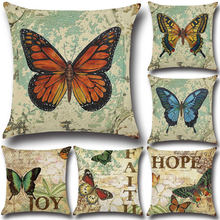 2017 New 3D Butterfly Linen Cushion Pillow Cover Vintage Coussin Pillow 45cm*45cm Decorative Bed Pillow Almofada