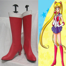 Free Shipping Anime Sailor Moon Crystal Cosplay Costume Shoes Tsukino Usagi Red High-heeled Boots PU Leather Custom New