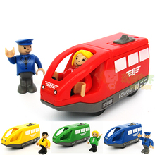 FreeShipping 4 Color EDWONE Electric Train Toys Birthday Gifts For Children Magnetic Wooden Slot Diecast Electronic Vehicle Toy