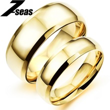 7SEAS 1 Piece Price Gold Color Stainless Steel Couple Rings For Men Women Luxury Engagement Rings Promise Love Jewelry,JM479J(China)