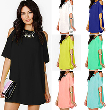 New Women's Fashion Summer Sexy Off Shoulder Chiffon Short Sleeve T-Shirt Tops Mini Dress