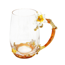 KEYTREND Luxury Enamel Coffee Mug Post-modern Drinking Glass Cups with Golden Handgrip and Rhinestones Decorated Flower AECL094(China)