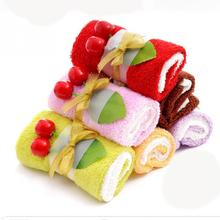 1pc Wholesale Swiss Roll Towels Valentine Wedding Gifts for Guests Celebrate Birthday Party Cake Towel Boxed Creative Activities