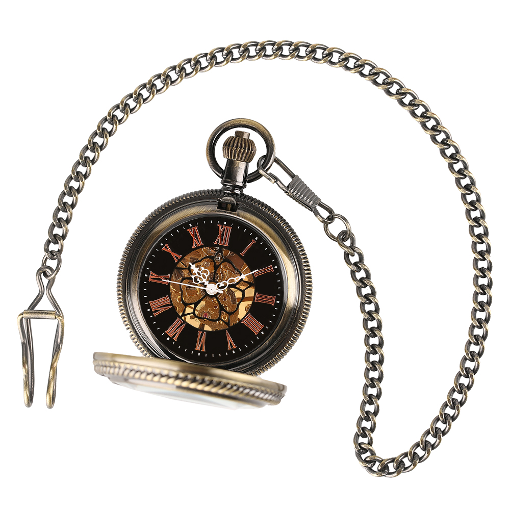 YISUYA Elegant Women Vintage Mechanical Pocket Watch Stempunk Skeleton Hand Winding Pendant Clock for Men Kid Xmas Watch Gift (6)