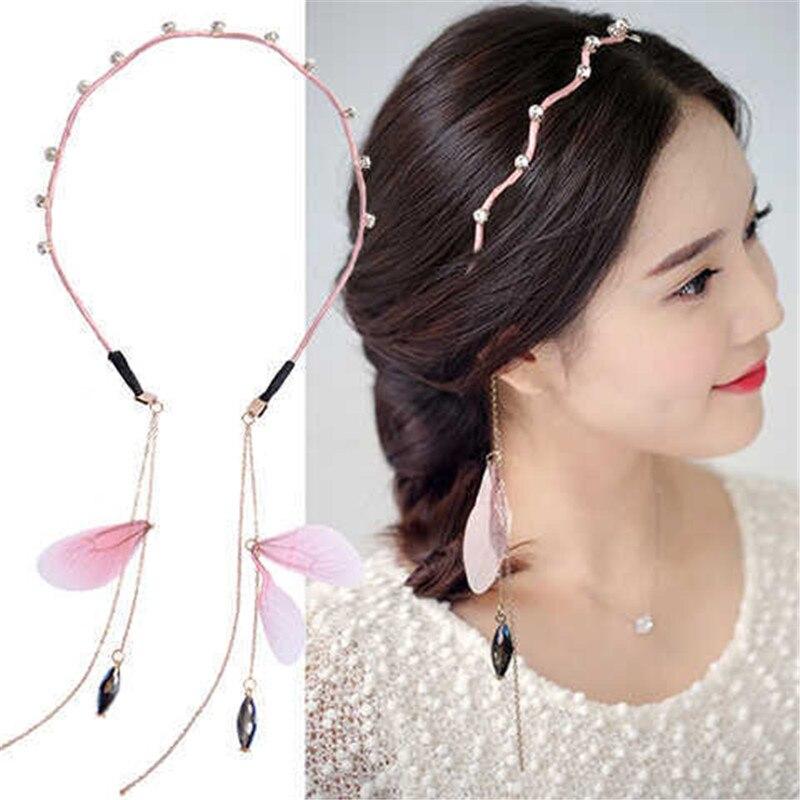 Novelty Women Stylish Headwear Faux Pearl Tassel Pendant Fake Earrings Hair Band