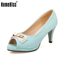 Brand Design Women Pumps Sexy Open Toe Thick High Heels Shallow Mouth Women Shoes Quality Party Dress Pumps Size 33-43 PA00711
