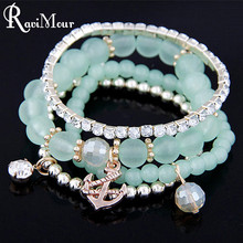 Multilayer Anchor Bracelets & Bangles for Women Fashion Beads Charms Pulseras Jewelry Elastic Pulseiras Mujer Summer Style 2017