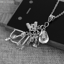 The Walking Dead necklace vintage Zombie hat telescope bow and arrow gun axe water bottle pendant for men and women jewelry(China)