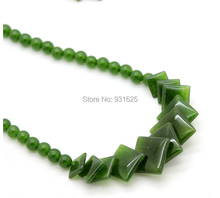 A+++ natural Chinese green necklace fashion Jewelry Beads with Square pendants Necklace 18 inch free shipping