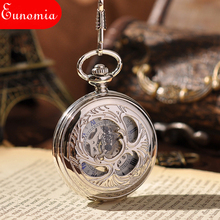 Wholesale Retro Mechanical Pocket Watch With Chain Cool New Steampunk Watches Vintage Silver Color Skeleton Pocket Watch PW088