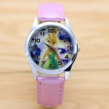 Tinkerbell PRINCESS Quartz Kids Sports fashion cartoon leather Watch Wristwatch for Boy Students Christmas Relogio watches(China)