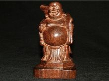 CHINESE OLD SANDAL WOOD COLLECTABLE HANDWORK CARVED LAUGH BUDDHA STATUE(China)