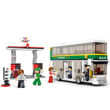 Sluban 0331 city buses compatible with LE Double Deck School City Bus building blocks DIY toys educational toys for children(China)