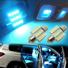 10Pcs Super Bright Ice Blue/Aqua Blue LED Bulbs 31mm Festoon 12-SMD Car interior Dome Map Lights