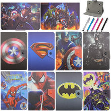 "3D Cute Spiderman and Captain Leather Stand Folio Cover Case For Universal 10""inch Tablet PC"