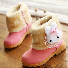 New Winter Baby Girls Snow Boots Lovely Children Non-slip Rain Shoes Fashion Plush Warm Cotton-Padded Kids Booties(China)