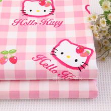 Hot Sale Hello Kitty Cartoon Fabric Cotton Material For Table Sofa And Pillow Clot  100% Cotton Fabric For Making Bedding Cover