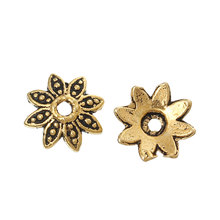 "DoreenBeads Zinc metal alloy Beads Caps Flower golden Tone (Fits 10.0mm Beads) 8.0mm( 3/8"") x 7.0mm( 2/8""), 55 PCs 2015 new"