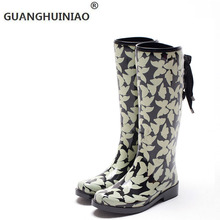 jOy how the new fashion lady rain rubber shoes Han edition high fashion female boots boots shoes female butterfly