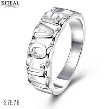 KITEAL online shopping india silver   size 7 8 Perfume women engagement ring Pierced LOVE  Love word anillos diy