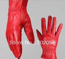 red black color Genuine Leather Gloves skin gloves LEATHER GLOVES 12pairs/lot #3138