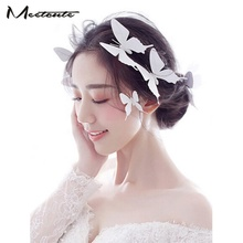 Meetcute 6pcs/lot Wedding Hair Accessories For Women White PVC Butterfly Design Head Wear Jewelry for Wedding Party Hairpins