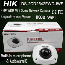 Hik DS-2CD2542FWD-IWS 4MP Mini Dome WiFi Built-in microphone, Audio Output, Alarm IO IP Camera IK08 IR 10m HD1080P 3-axis adjust(China)