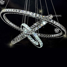 Stainless steel 3 Circles 65W LED K9 Crystal Chandelier Hot sale Diamond Ring Modern Pendant Lamp Upscale atmosphere