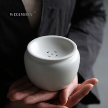 WIZAMONY Japanese Tea Wash Bowl Fat White Jianshui gongfu Teasets tea Accessories Ceramic Porcelain Chinese water container(China)