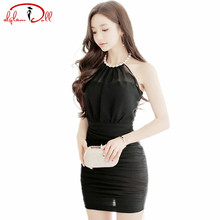 Women Pearl Halter Backless Chiffon Patchwork Sexy Vestidos Sleeveless Black Wrinked Party Ultra Mini Club Dresses Summer 2017(China)