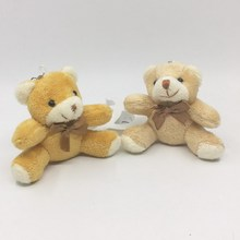 "8cm(3.2"") Cute Plush Sitting Teddy Bear With Scarf bow   For Phone/Bag/Bouquet Flower Pendant 10Pcs"