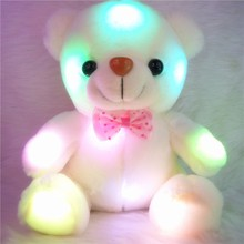 Kawaii Teddy Bear Plush Dolls With LED Lighting For Kids Flashing Toys Colorful Pink White Stuffed Dolls