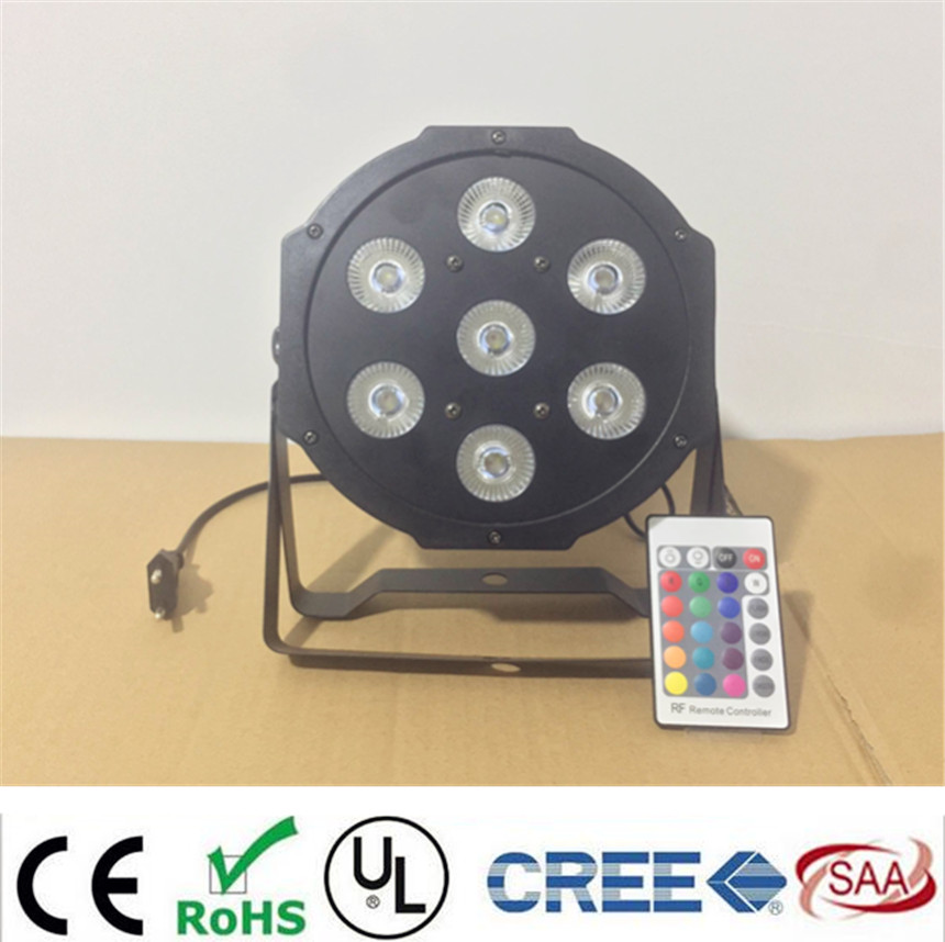 12pcs/lot Wireless Remote Control LED The brightest 8 dmx Channels Led Flat Par 7x12W RGBW 4IN1 Fast Shipping<br>