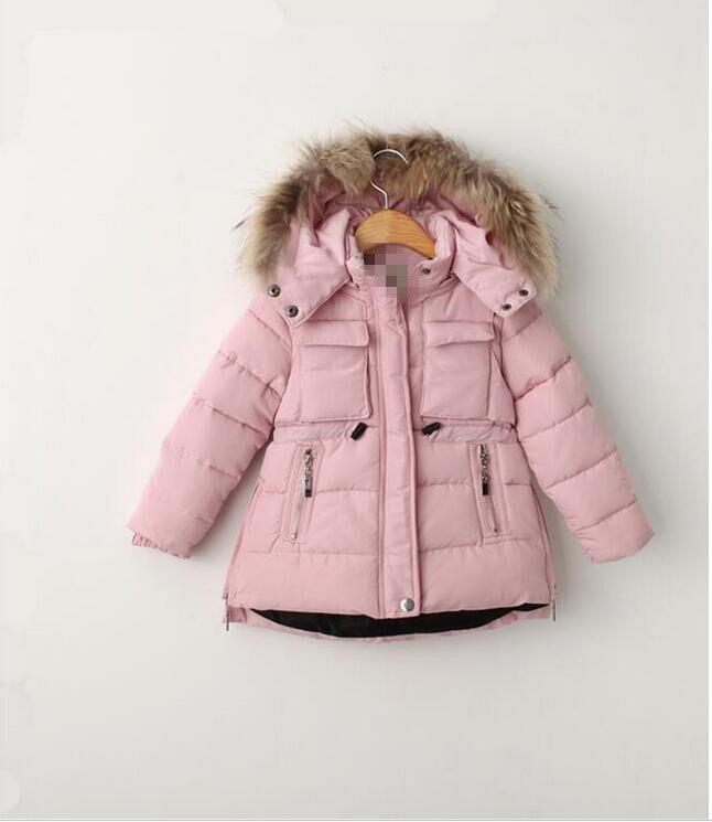 YBP509908ch115 Retail New 2015 Winter Girl Parka Solid Hooded Real Fur Girl Outerwear Worm Girl Coat Winter Kids ClothesÎäåæäà è àêñåññóàðû<br><br>